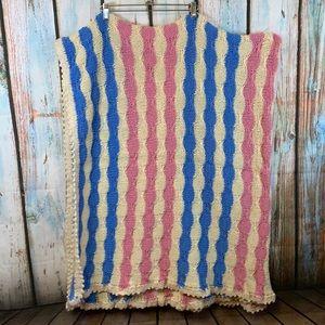 Vintage Handmade Pink, Blue & Cream Crochet Large Blanket